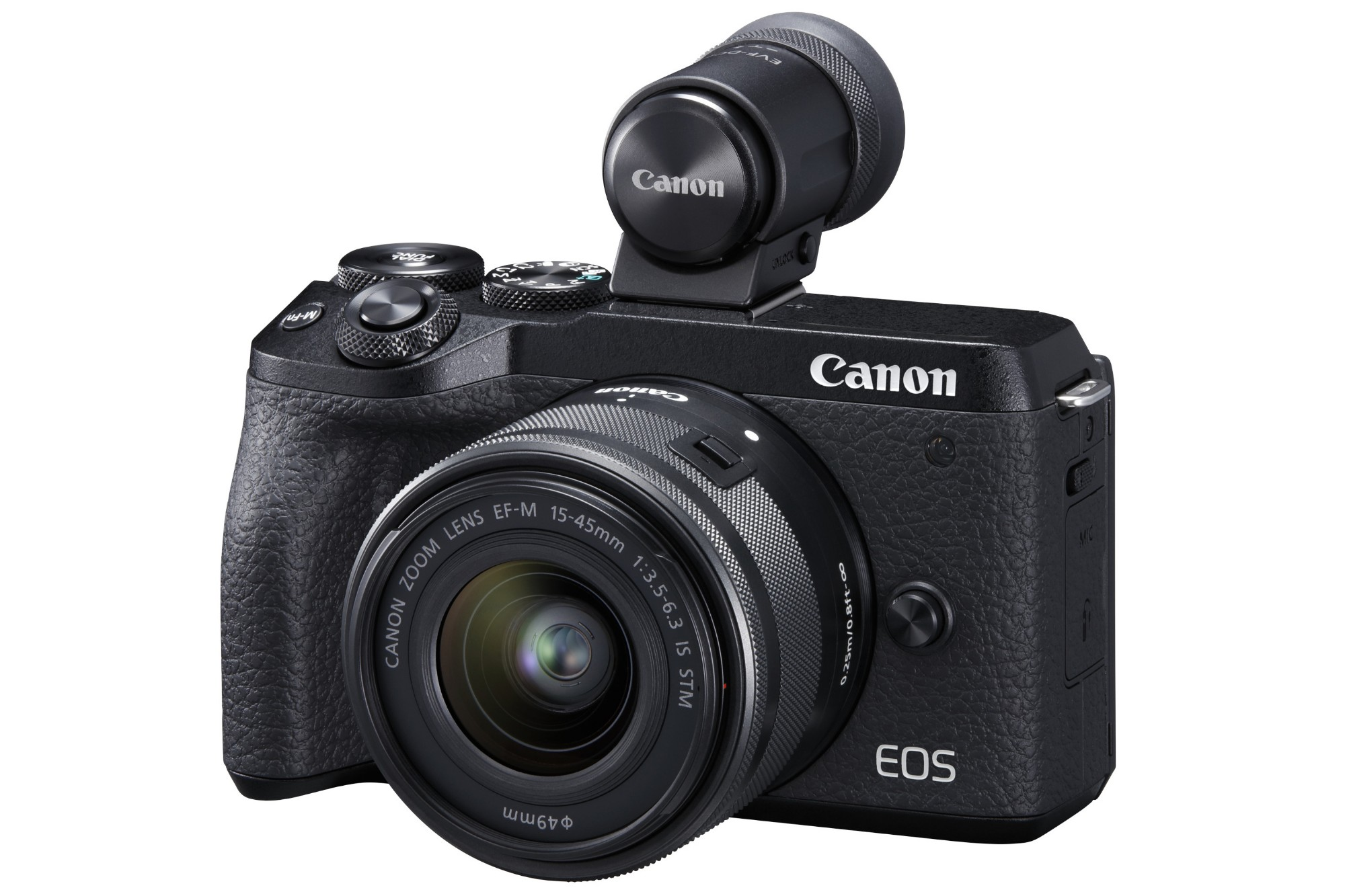 Canon EOS M6 MK II Mirrorless Camera with EF-M 15-45mm IS STM Lens & EVF-DC2 Viewfinder - Black