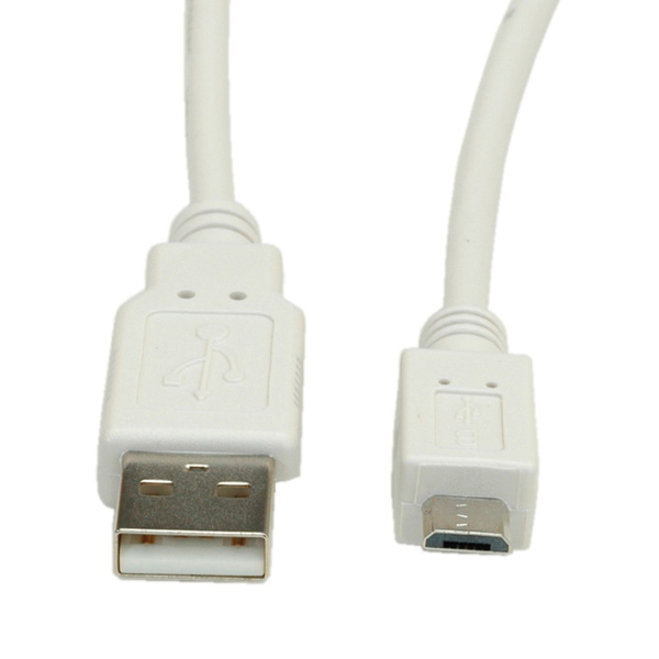 USB2.0 Cable A-MicroB. M/M. White. 0.8m
