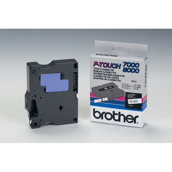 Brother TX-221 P-Touch Ribbon, 9mm x 15m