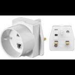 Microconnect 93255 power plug adapter Type C (Europlug) Type D (UK) White
