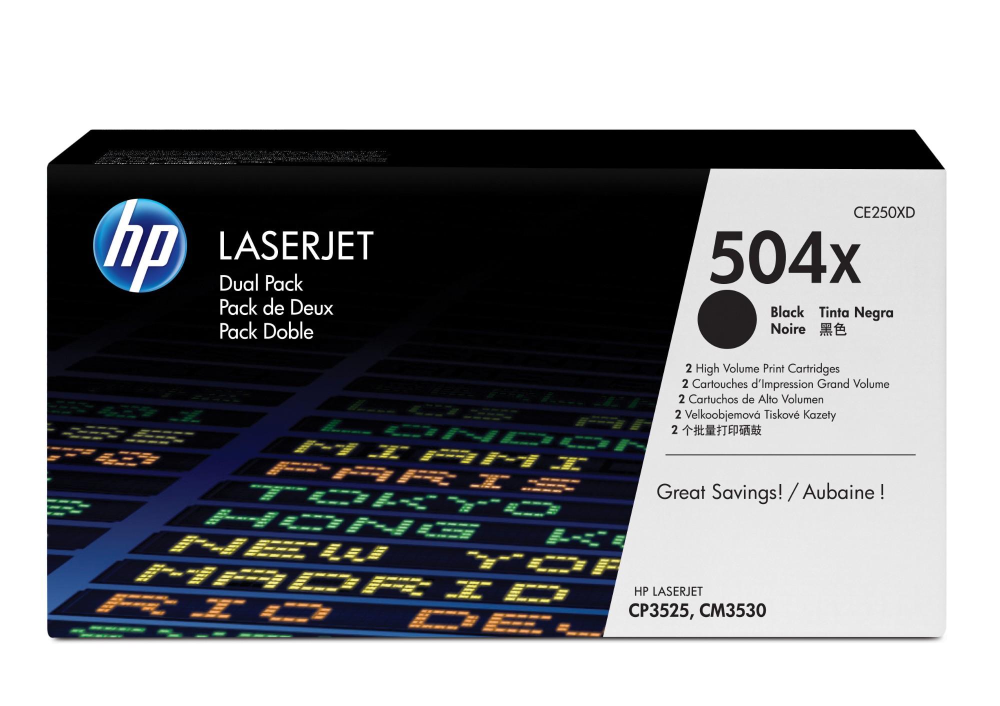 HP 504X Origineel Zwart 2 stuk(s)