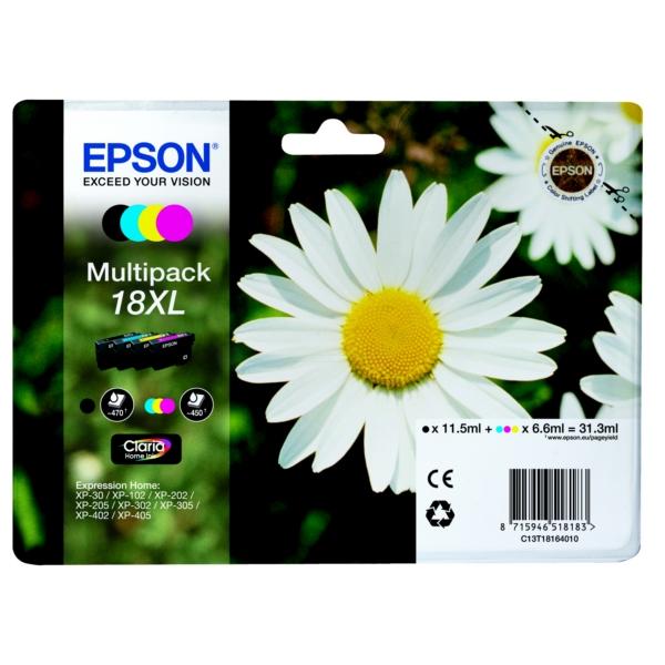 Epson C13T18164010 (18XL) Ink cartridge multi pack, 470pg + 3x450pg, 1x 12ml + 3x 7ml, Pack qty 4