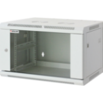 """Intellinet Network Cabinet, Wall Mount (Standard), 12U, 600mm Deep, Grey, Assembled, Max 60kg, Metal & Glass Door, Back Panel, Removeable Sides, Suitable also for use on a desk or floor, 19"""", Parts for wall installation not included, Three Year Warranty"""