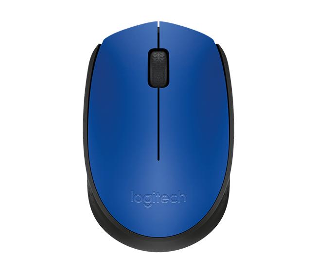 Logitech M171 RF Wireless+USB Optical 1000DPI Ambidextrous Black,Blue mice