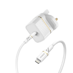 OtterBox UK Wall Charger 20W - 1X USB-C 20W USB-PD + USB C-Lightning Cable 1m, Cloud Dust White