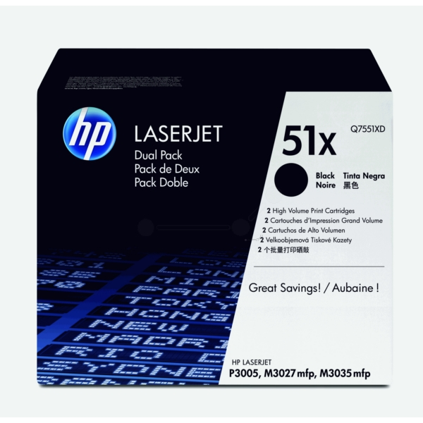 HP Q7551XD (51XD) Toner black, 13K pages, Pack qty 2