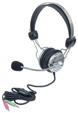 Manhattan 175517 Binaural Head-band Grey headset