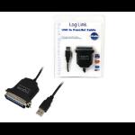 LogiLink AU0003C parallel cable 1.5 m Black