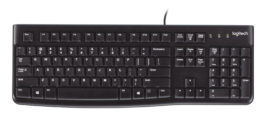 Logitech K120 teclado USB QWERTY Inglés del Reino Unido Negro