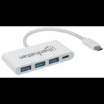 Manhattan 163552 interface hub USB 3.0 (3.1 Gen 1) Type-C 5000 Mbit/s White