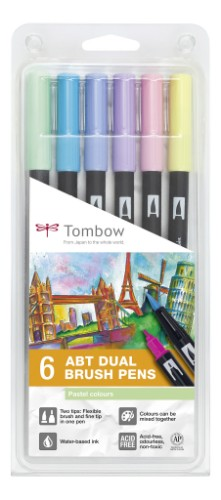 Tombow ABT-6P-2 felt pen Fine Blue, Mint, Pink, Purple, Yellow 6 pc(s)