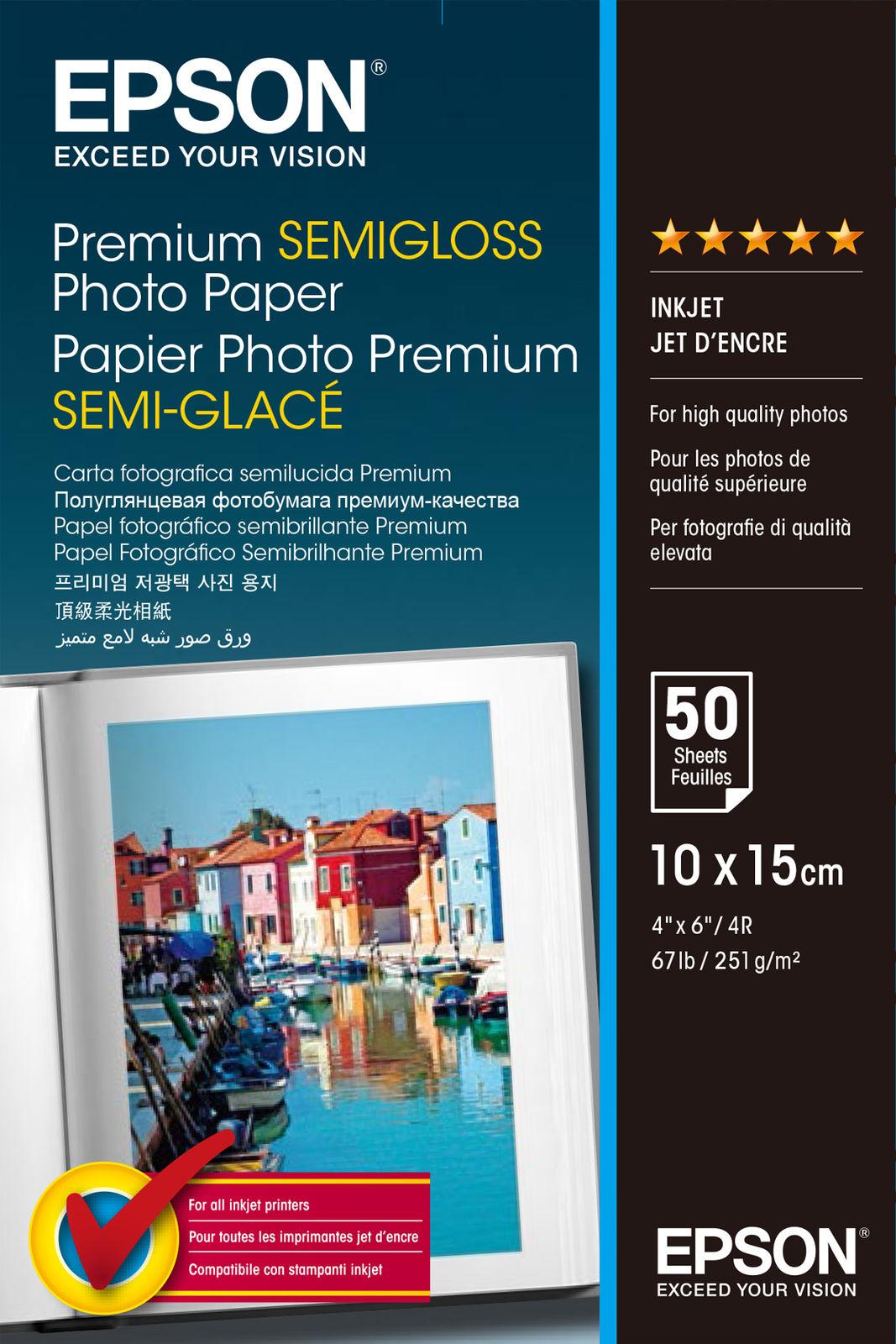 Epson Premium Semi-Gloss Photo Paper - 10x15cm - 50 Sheets