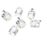 C2G RJ11 6x4 Modular Plug for Flat Stranded Cable 50pk wire connector RJ-11 Transparent