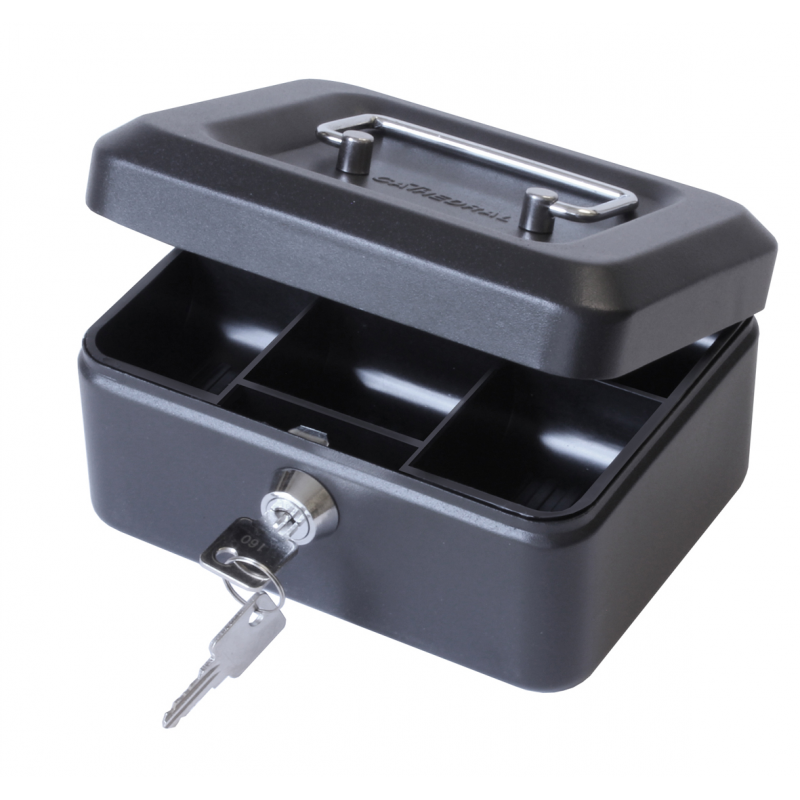 Cathedral Products Value 20cm (8 Inch) Key Lock Metal Cash Box Black
