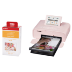 Canon SELPHY CP1300 Pink Photo Printer inc RP-108 Ink Paper Set for 108x Photos