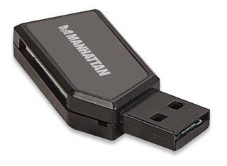 Manhattan Mini Multi-Card Reader/Writer, USB 2.0, 24-in-1, 480 Mbps, Windows or Mac, Black, Blister
