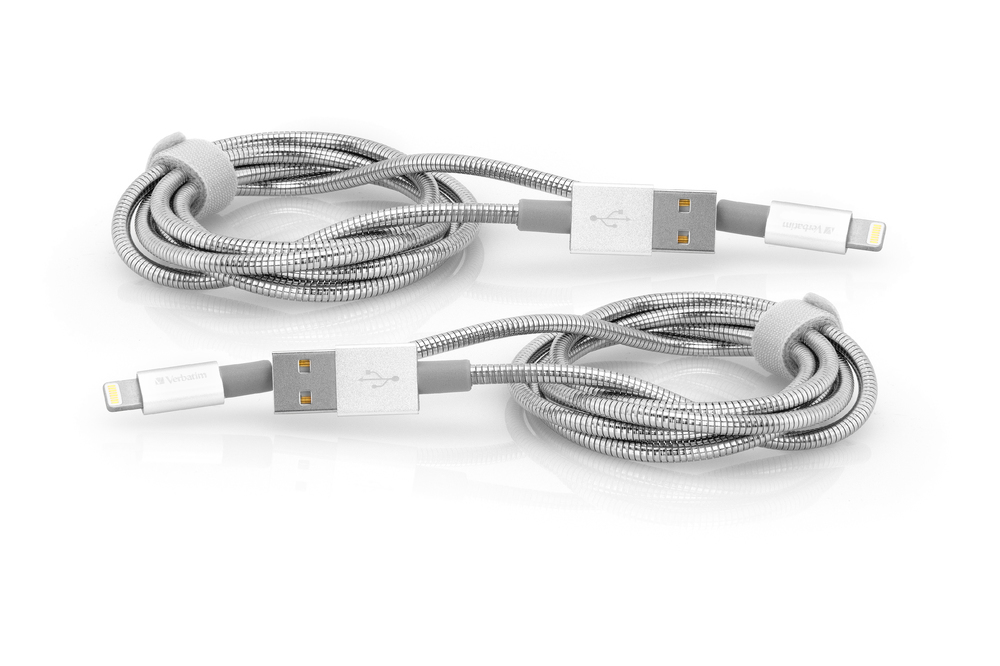 Verbatim 48872 lightning cable 1 m Stainless steel,White