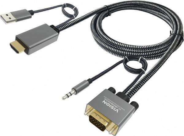 Vision TC 2MHDMIVGA/HQ adaptador de cable de vídeo 2 m HDMI + USB VGA (D-Sub) + 3,5mm Gris