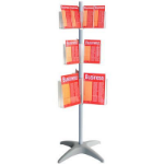 ESSELTE BROCHURE HOLDER CAROUSEL FLOOR STAND 3 TIER DL X 12 A5 X 6 A4 X 6