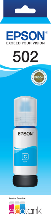 EPSON T502 Cyan Ink Bottle - ET-2700, ET-2750, ET-3700, ET-4750