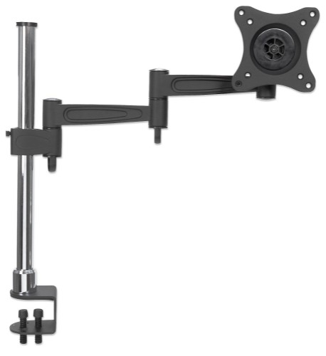 "Manhattan Monitor Desk Mount (clamp), 1 screen, 10-27"", Vesa 75x75 to 100x100mm, 3 pivots (full motion), Height 0-40cm, Max 15kg, Black/Silver Pole"