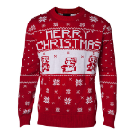 Nintendo Super Mario Bros. Men's Knitted Pixel Mario Merry Christmas Sweater, Large, Red (WO295060NTN-L)