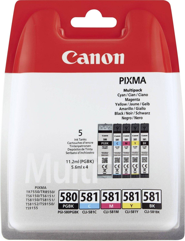 Canon 2078C005 (PGI-580 CLI 581 CMYK) Ink cartridge multi pack, 1x 200/1505/256/237/257 Pg, Pack qty 5