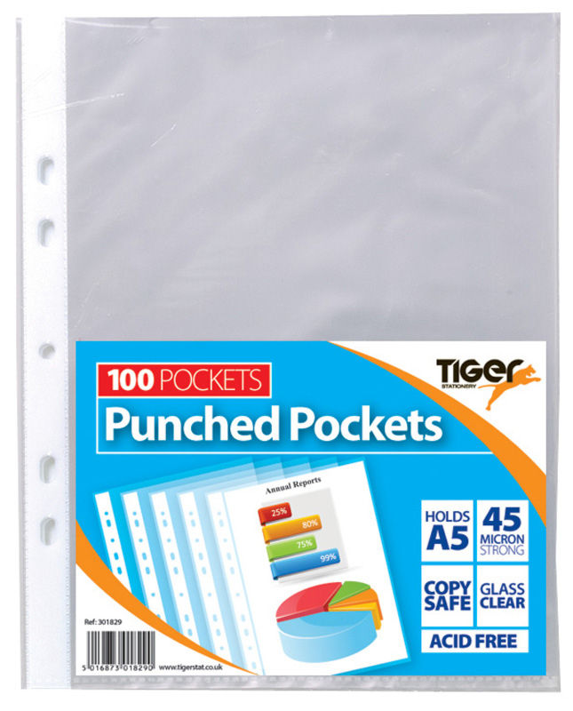 Tiger A5 Punched Pockets PK100