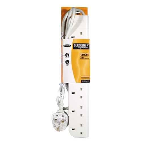 Belkin E-Series 6 Socket, 1-Metre SurgeStrip surge protector 6 AC outlet(s) 230 V 1 m White