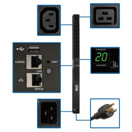 Tripp Lite 3.3/3.7kW Single-Phase Monitored PDU, LX Platform Interface, 208/230V Outlets (18 C13/2 C19), C20/L6-20P, 0U 90 cm