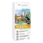 Tombow ABT Dual Brush Pen 2 tips Pastel Colours PK18