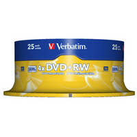 DVD+rw Media 4.7GB 4x 25-pk With Spindle