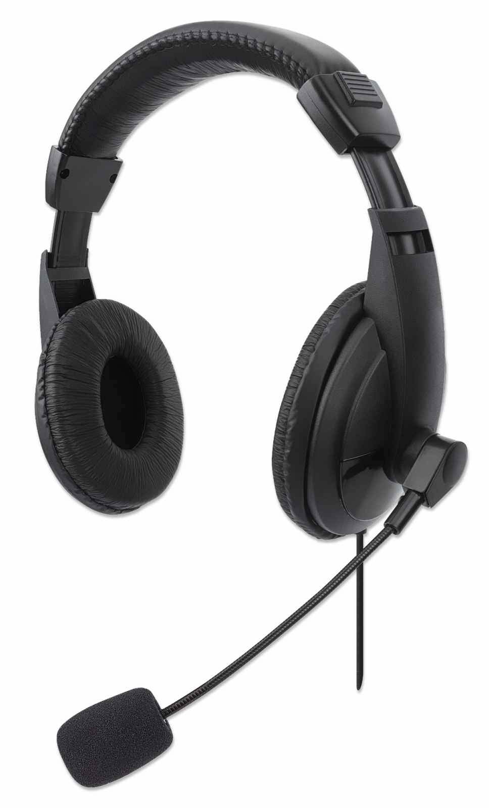 Manhattan Stereo USB Headset, Lightweight Over-Ear design, Adjustable microphone, Integrated controls, USB-A plug, Black, Polybag