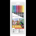Tombow ABT-6P-3 felt pen Fine/Medium Blue,Green,Orange,Pink,Red,Yellow 6 pc(s)