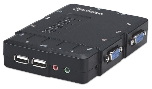 Manhattan KVM Switch Compact 4-Port, 4x USB-A, Cables included, Audio Support, Control 4x computers from one pc/mouse/screen, Black, Boxed