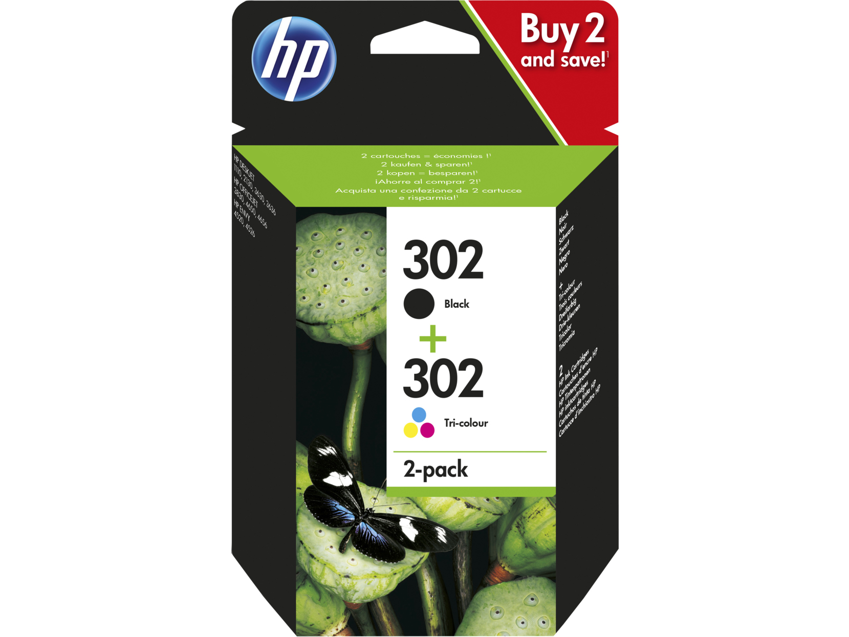 HP X4D37AE (302) Ink cartridge multi pack, 165 pages, Pack qty 2