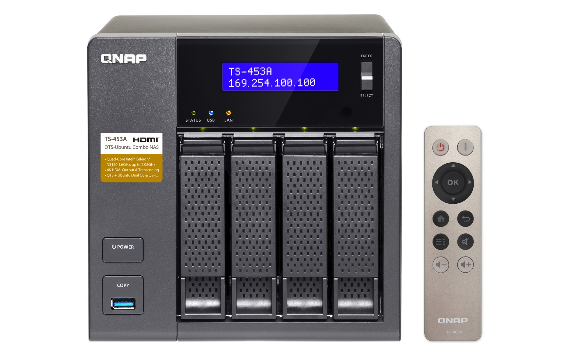 QNAP TS-453A-4G 16 TB 4 Bay Network Attached Storage Unit with 4 GB RAM