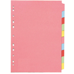Concord Subject Dividers 160gsm 10-Part A4 10 Colours Ref 72299/J22 [Pack 25]