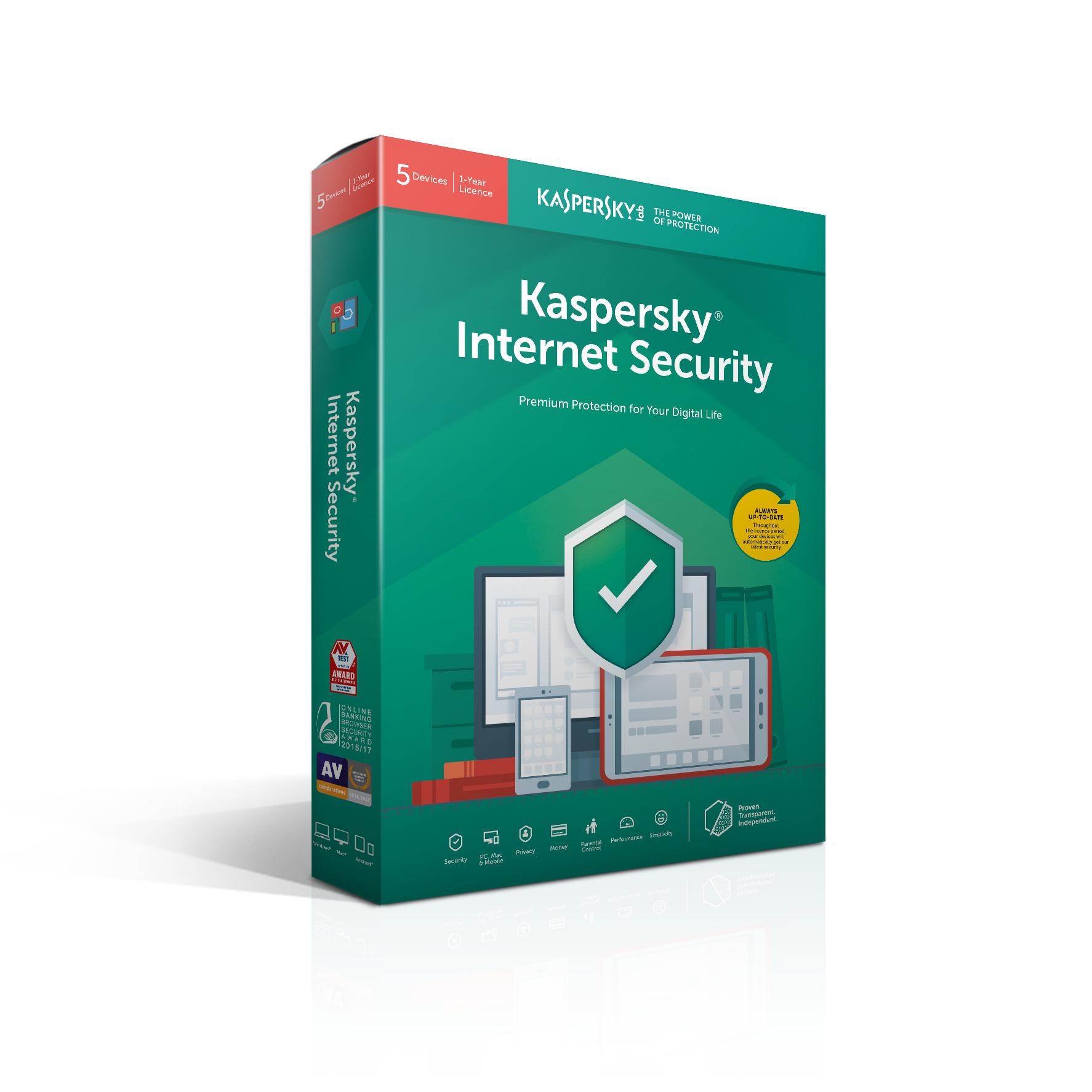 Kaspersky Lab Internet Security 2019 Base license 5 licentie(s) 1 jaar Nederlands, Frans