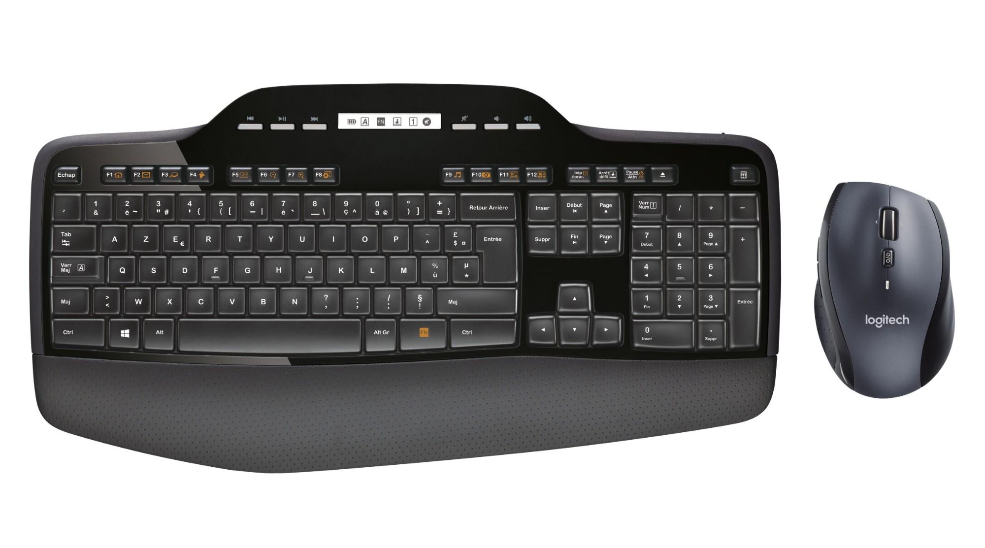 Logitech MK710 teclado RF inalámbrico AZERTY Belga Negro