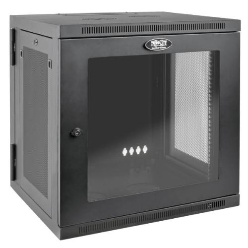 Tripp Lite 12U SmartRack Wall-Mount Rack Enclosure Cabinet with Clear Acrylic Door, UPS-Depth, Hinged Back