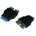 Cables Direct 20-pin - 2x USB 3.0 A interface cards/adapter USB 3.2 Gen 1 (3.1 Gen 1) Internal