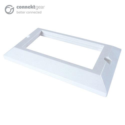 CONNEkT Gear AV Double Faceplate - 4 Module 146 x 86mm Bevelled Edge - White