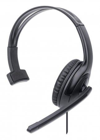 Manhattan Mono USB Headset, Single-sided Over-ear Design, In-Line Volume Control, Adjustable microphone, USB-A plug, Black, Three Year Warranty, Boxed