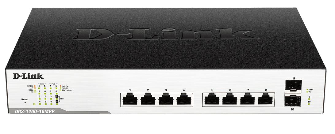 D-Link DGS-1100-10MP network switch Managed L2 Gigabit Ethernet (10/100/1000) Black 1U Power over Ethernet (PoE)