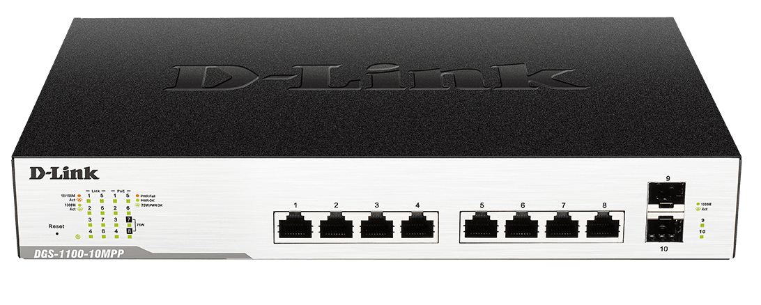 D-Link DGS-1100-10MP switch Gestionado L2 Gigabit Ethernet (10/100/1000) Negro 1U Energía sobre Ethernet (PoE)