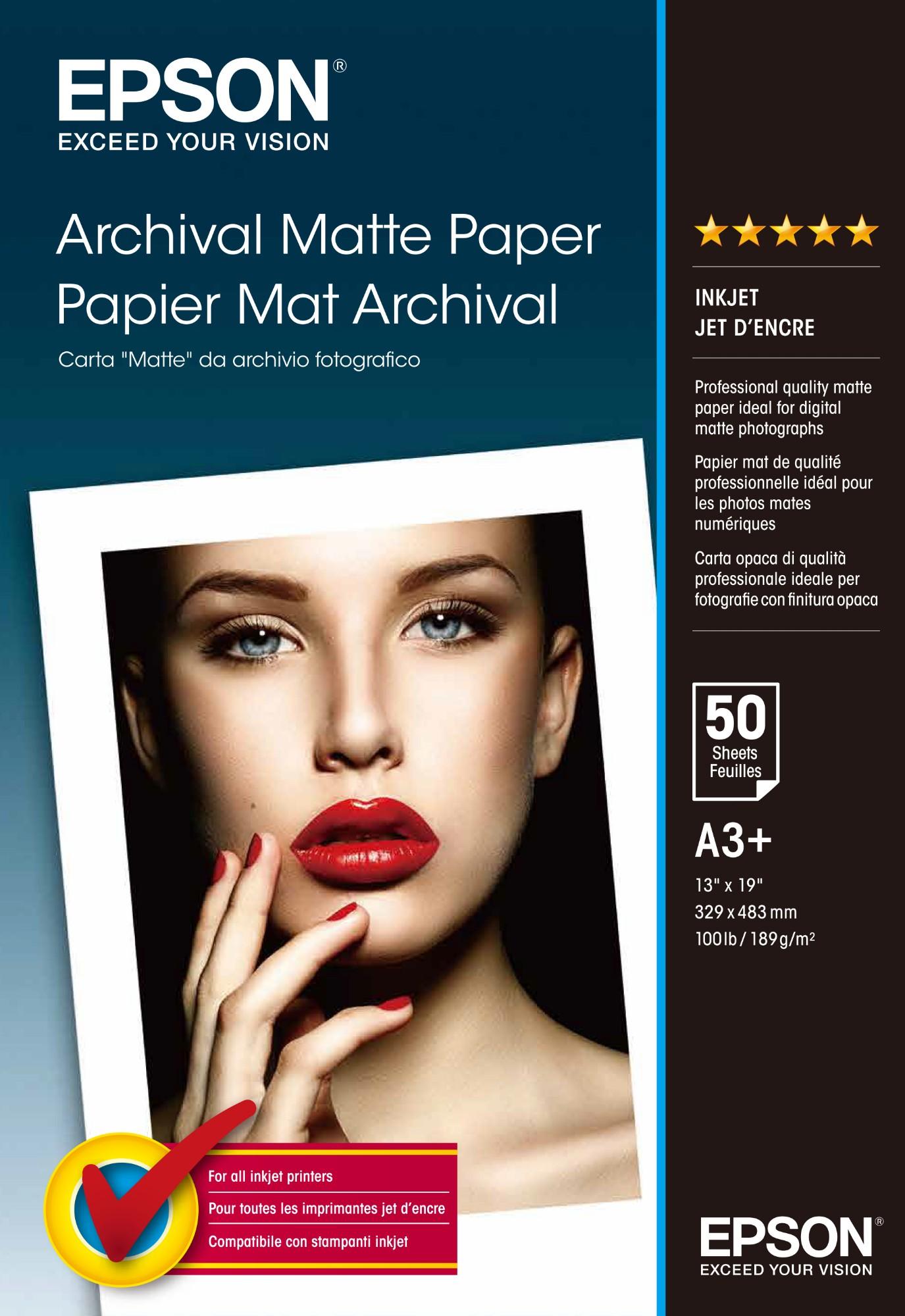Epson Archival Matte Paper, DIN A3+, 189g/m², 50 Sheets