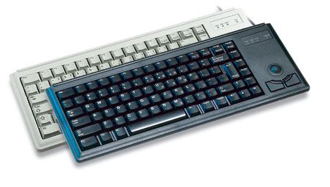 Cherry Ultraslim Trackball Keyboard, 2 x PS/2, GB, light grey