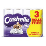 SCA Cushelle 2-Ply Toilet Rolls White Pack 12 for the price of Pack 9