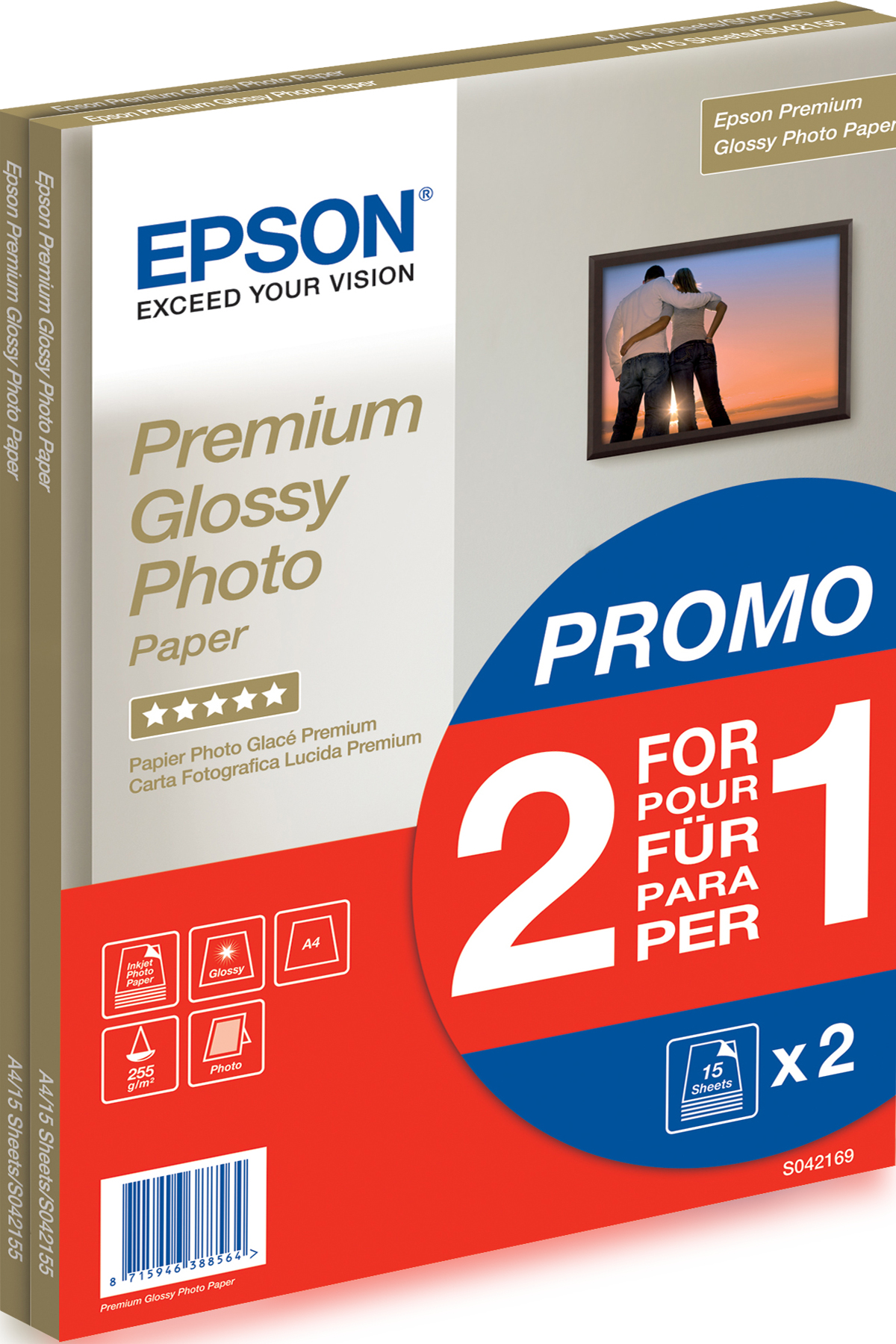 Epson Premium Glossy Photo Paper - A4 - 2x 15 Sheets